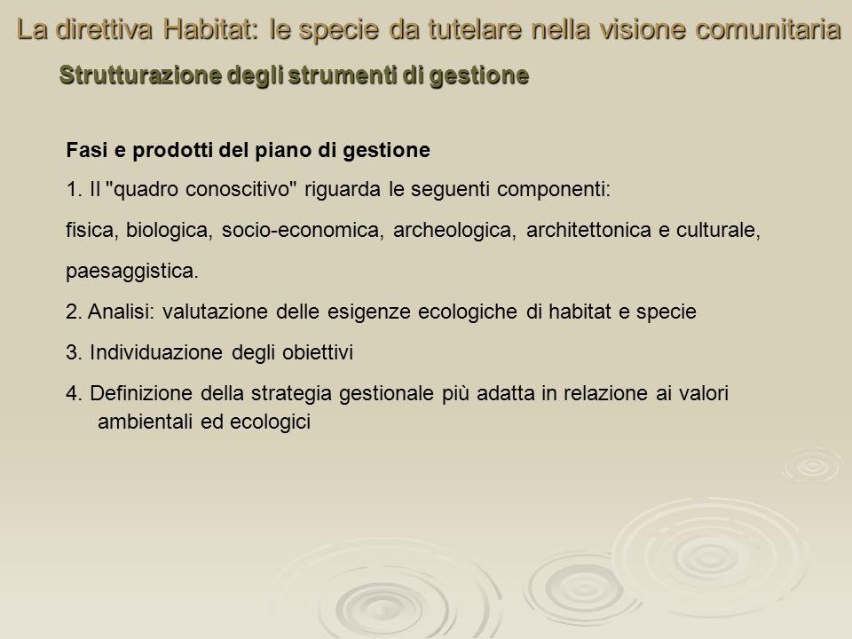 La direttiva Habitat: le specie da tutelare nella visione comunitaria Strutturazione degli strumenti di gestione Fasi e prodotti del piano di gestione 1.