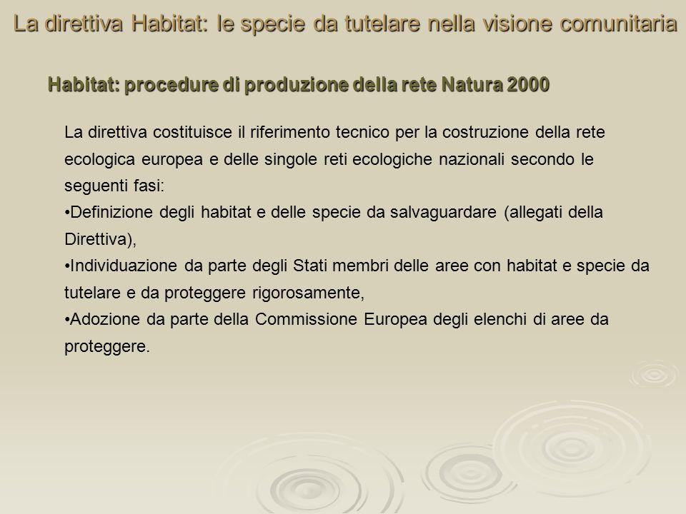 La direttiva Habitat: le specie da tutelare nella visione comunitaria La direttiva costituisce il riferimento tecnico per la costruzione della rete ec
