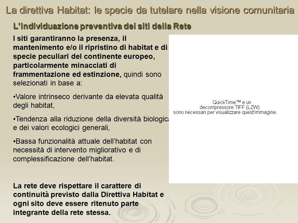 La direttiva Habitat: le specie da tutelare nella visione comunitaria L'individuazione preventiva dei siti della Rete I siti garantiranno la presenza,