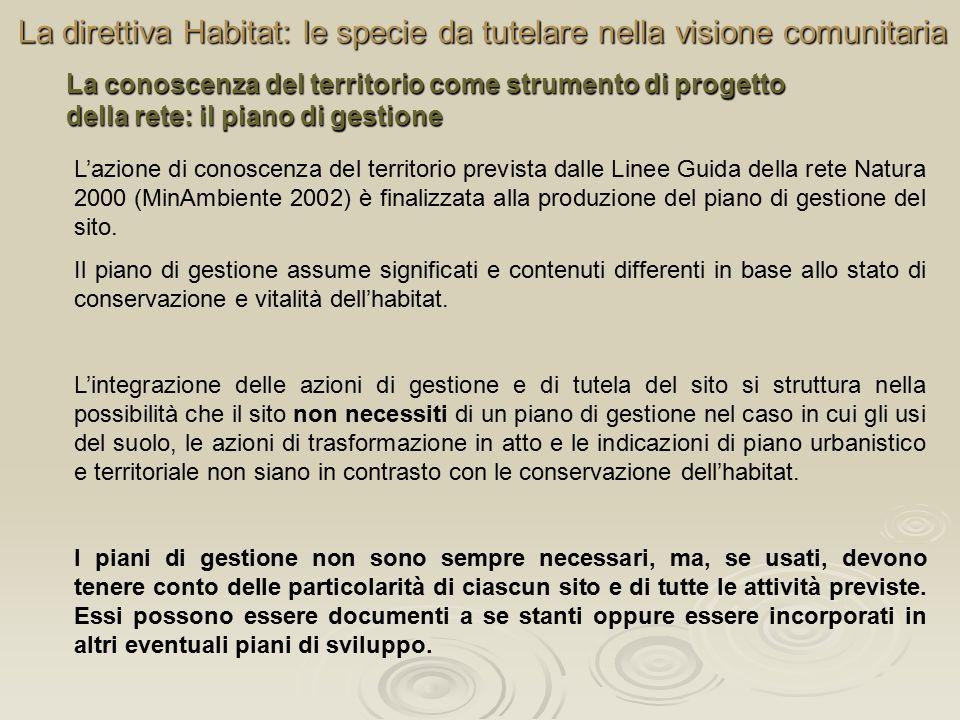 La direttiva Habitat: le specie da tutelare nella visione comunitaria La conoscenza del territorio come strumento di progetto della rete: il piano di gestione L'azione di conoscenza del territorio prevista dalle Linee Guida della rete Natura 2000 (MinAmbiente 2002) è finalizzata alla produzione del piano di gestione del sito.