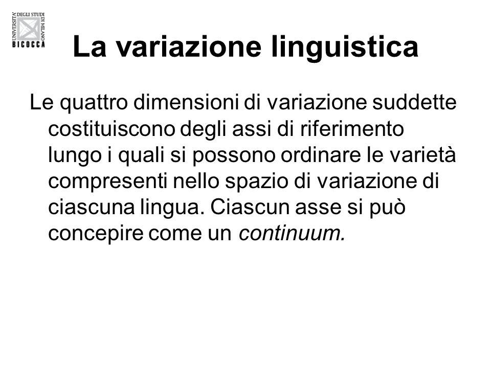 La variazione linguistica Le quattro dimensioni di variazione suddette costituiscono degli assi di riferimento lungo i quali si possono ordinare le varietà compresenti nello spazio di variazione di ciascuna lingua.