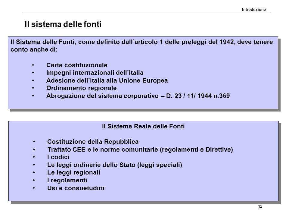 DP30.11.09 12 Il sistema delle fonti Il Sistema delle Fonti, come definito dall'articolo 1 delle preleggi del 1942, deve tenere conto anche di: Carta