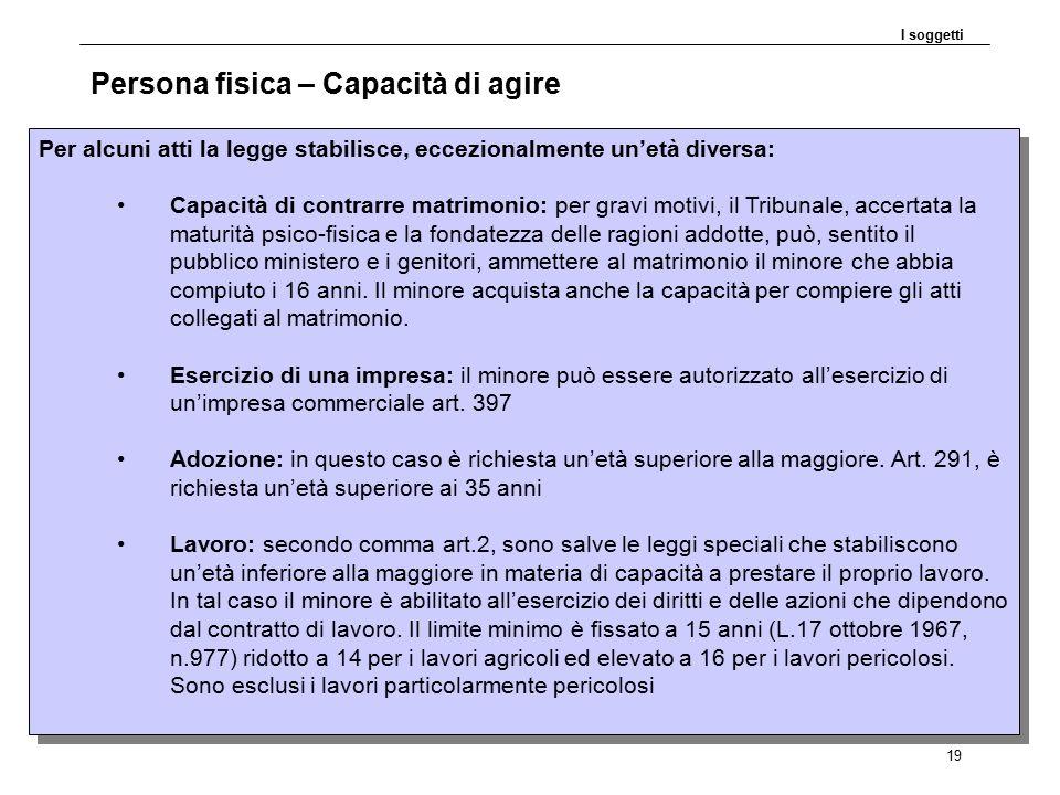 DP30.11.09 19 Persona fisica – Capacità di agire I soggetti Per alcuni atti la legge stabilisce, eccezionalmente un'età diversa: Capacità di contrarre