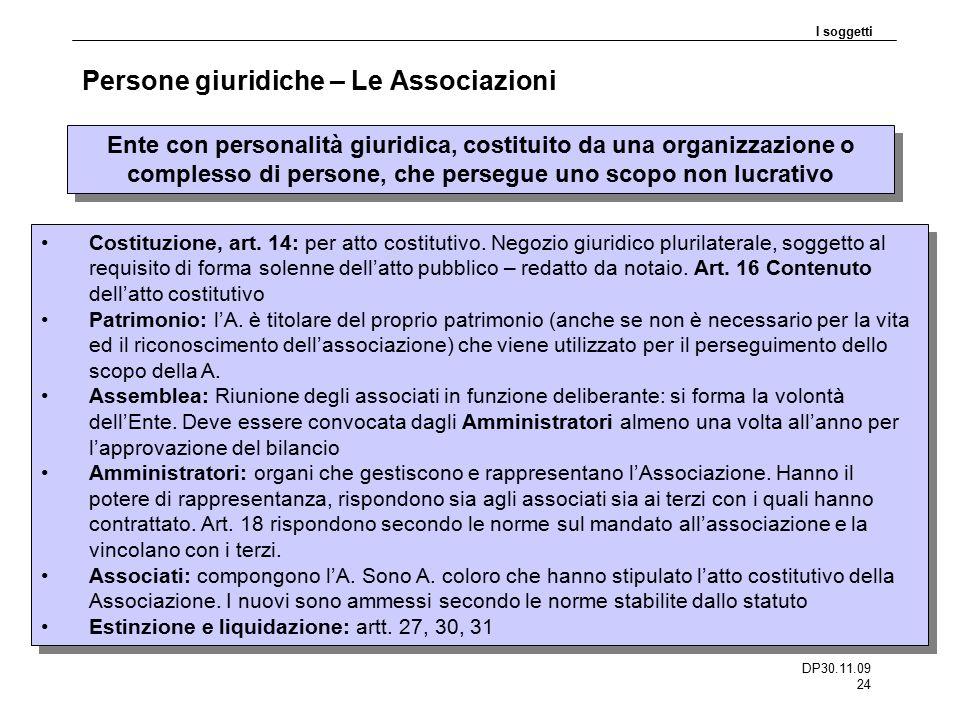 DP30.11.09 24 Persone giuridiche – Le Associazioni I soggetti Ente con personalità giuridica, costituito da una organizzazione o complesso di persone,