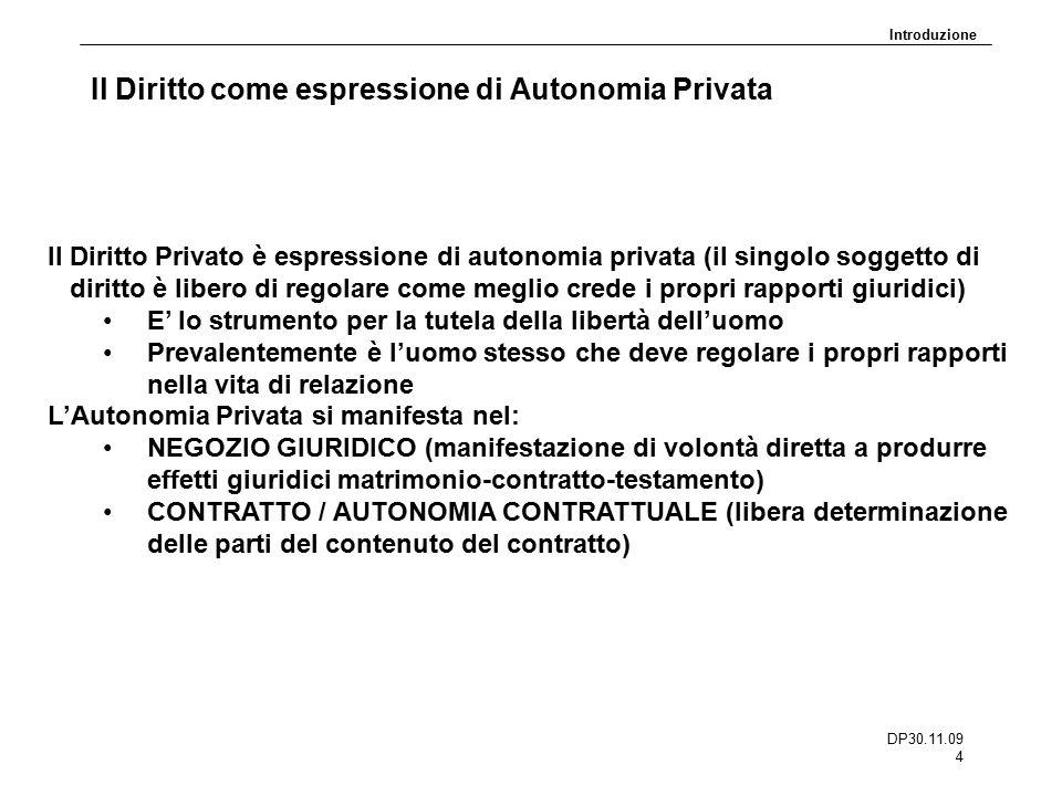 DP30.11.09 4 Il Diritto come espressione di Autonomia Privata Il Diritto Privato è espressione di autonomia privata (il singolo soggetto di diritto è