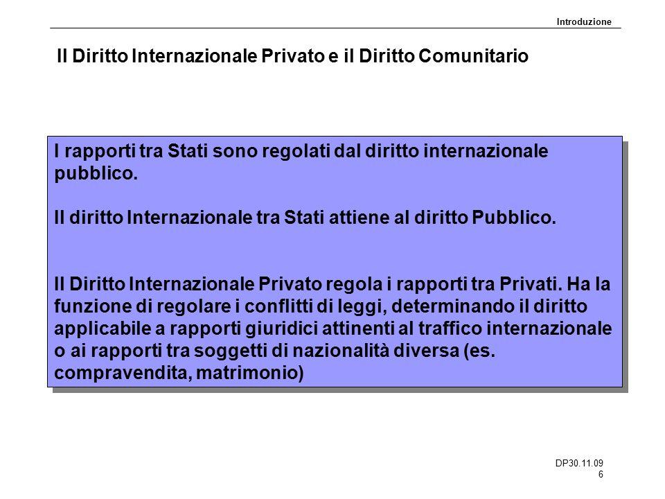 DP30.11.09 6 Il Diritto Internazionale Privato e il Diritto Comunitario I rapporti tra Stati sono regolati dal diritto internazionale pubblico. Il dir