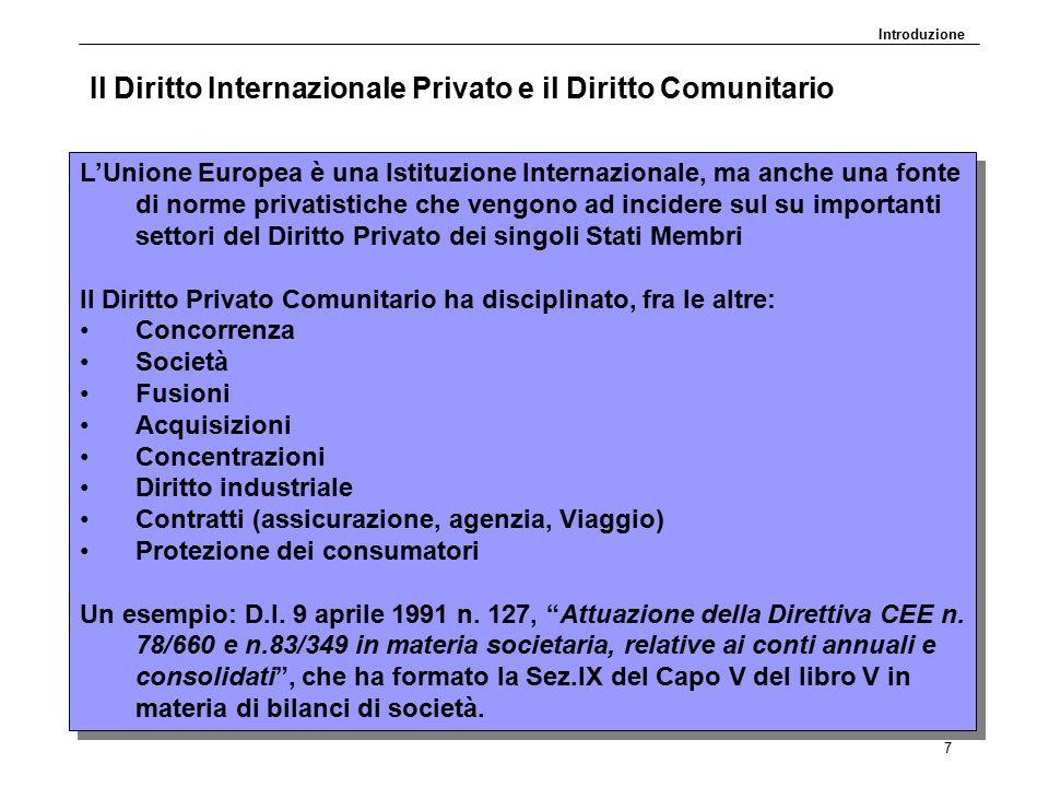 DP30.11.09 7 Il Diritto Internazionale Privato e il Diritto Comunitario L'Unione Europea è una Istituzione Internazionale, ma anche una fonte di norme