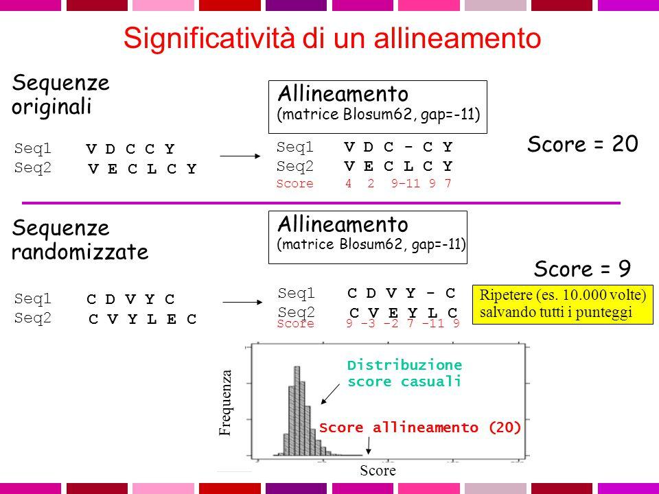 La SIGNIFICATIVITA' di ciascun allineamento viene definita da: - P value e' la probabilita' di ottenere un allineamento con punteggio uguale o miglior