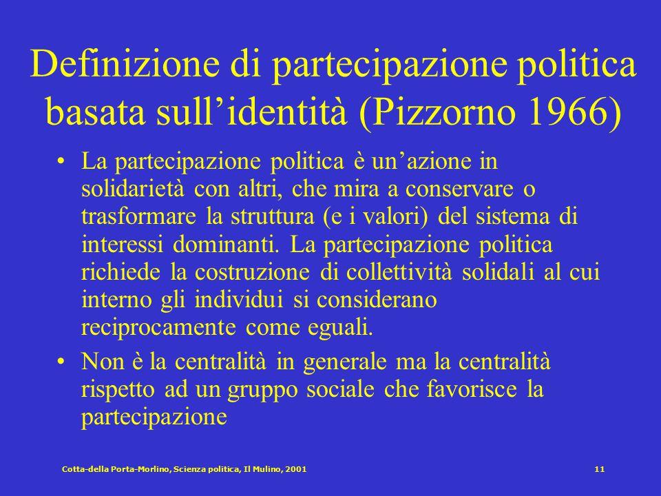 Cotta-della Porta-Morlino, Scienza politica, Il Mulino, 200110 La mobilitazione dei gruppi ed il livello di Catnet (Tilly 1978) Catnet : sintesi di ca