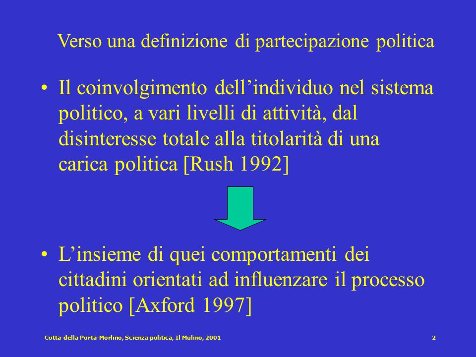 Cotta-della Porta-Morlino, Scienza politica, Il Mulino, 20011 Cap. VII: Partecipazione politica e movimenti sociali Struttura del capitolo Definizioni