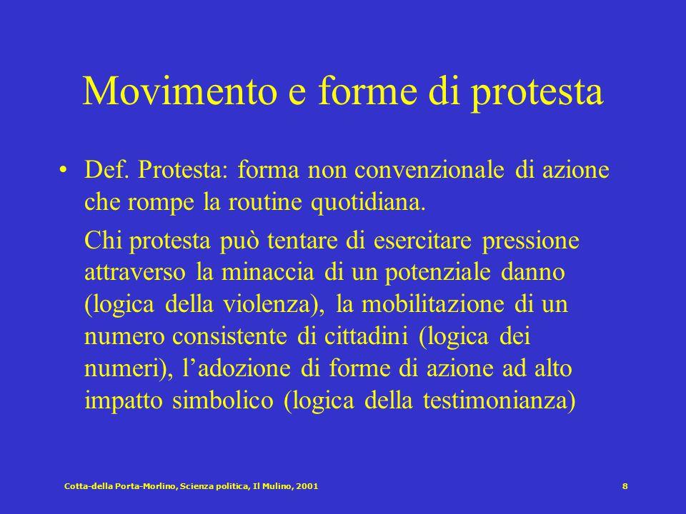 Cotta-della Porta-Morlino, Scienza politica, Il Mulino, 20017 I movimenti sociali [Della Porta e Diani 1997] Il concetto di movimento sociale si rifer