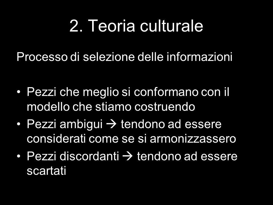 2. Teoria culturale Processo di selezione delle informazioni Pezzi che meglio si conformano con il modello che stiamo costruendo Pezzi ambigui  tendo