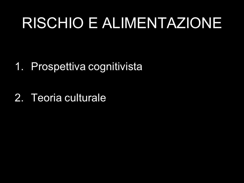1. Prospettiva cognitivista Percezione del rischio: -Gli esperti - La gente comune
