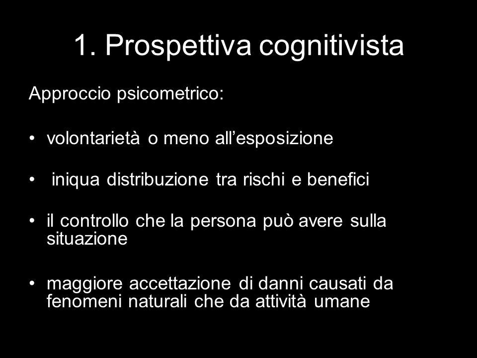 1. Prospettiva cognitivista Approccio psicometrico: volontarietà o meno all'esposizione iniqua distribuzione tra rischi e benefici il controllo che la
