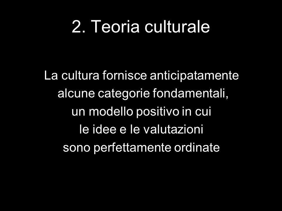 2. Teoria culturale La cultura fornisce anticipatamente alcune categorie fondamentali, un modello positivo in cui le idee e le valutazioni sono perfet