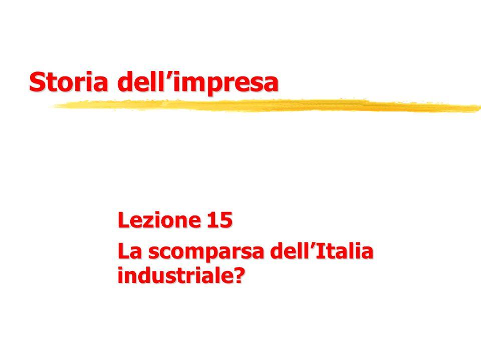 Storia dell'impresa Lezione 15 La scomparsa dell'Italia industriale