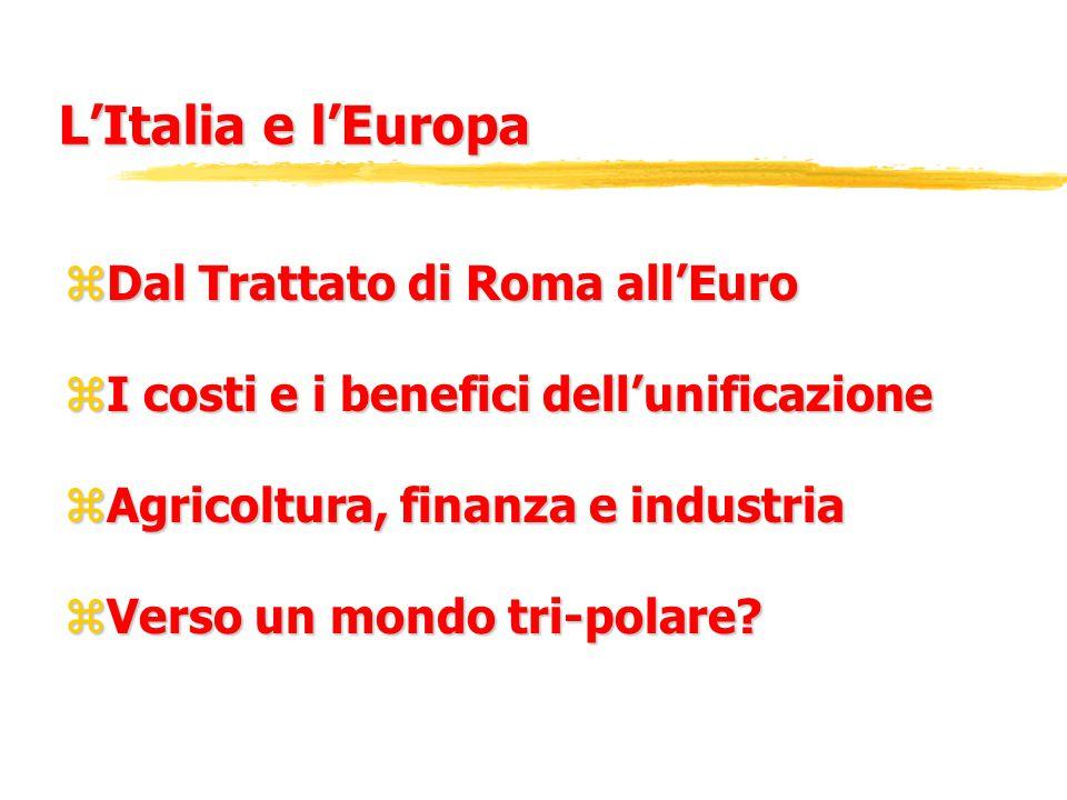 L'Italia e l'Europa zDal Trattato di Roma all'Euro zI costi e i benefici dell'unificazione zAgricoltura, finanza e industria zVerso un mondo tri-polare