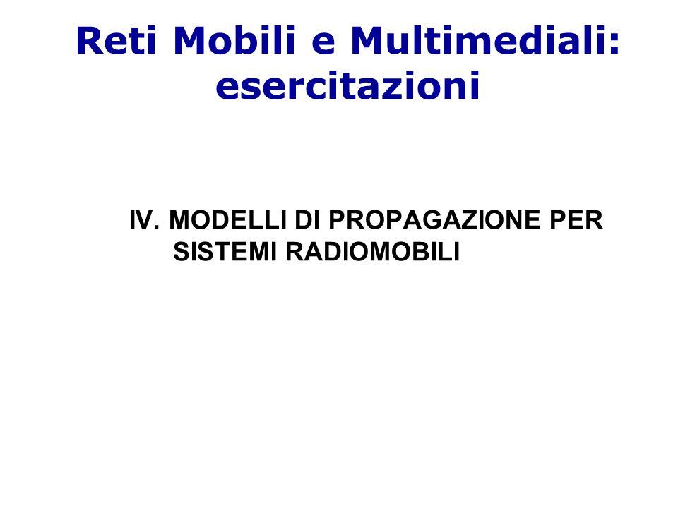 Modelli di propagazione per sistemi radiomobili Modelli di propagazione: –Modello di propagazione in spazio libero ('free space') –Modelli di propagazione che tengono conto di fenomeni quali: Riflessione Rifrazione Diffrazione Scattering BSMS BS MS BS MS BS MS