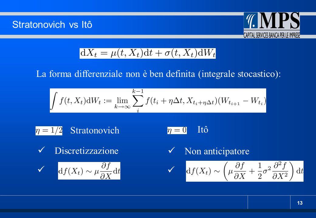 13 Stratonovich vs Itô La forma differenziale non è ben definita (integrale stocastico): Stratonovich Itô Discretizzazione Non anticipatore