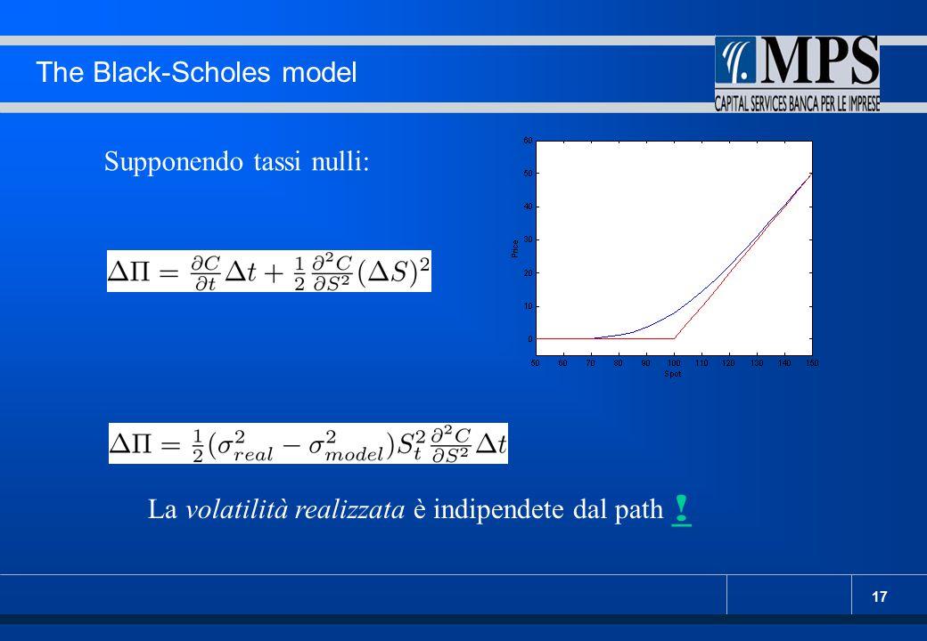 17 The Black-Scholes model Supponendo tassi nulli: La volatilità realizzata è indipendete dal path