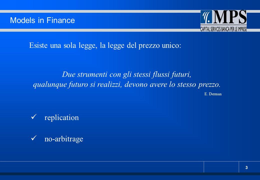 3 Models in Finance Esiste una sola legge, la legge del prezzo unico: Due strumenti con gli stessi flussi futuri, qualunque futuro si realizzi, devono