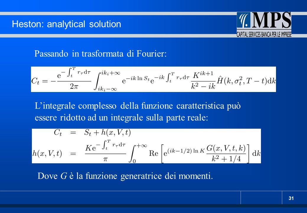 31 Heston: analytical solution Passando in trasformata di Fourier: L'integrale complesso della funzione caratteristica può essere ridotto ad un integr