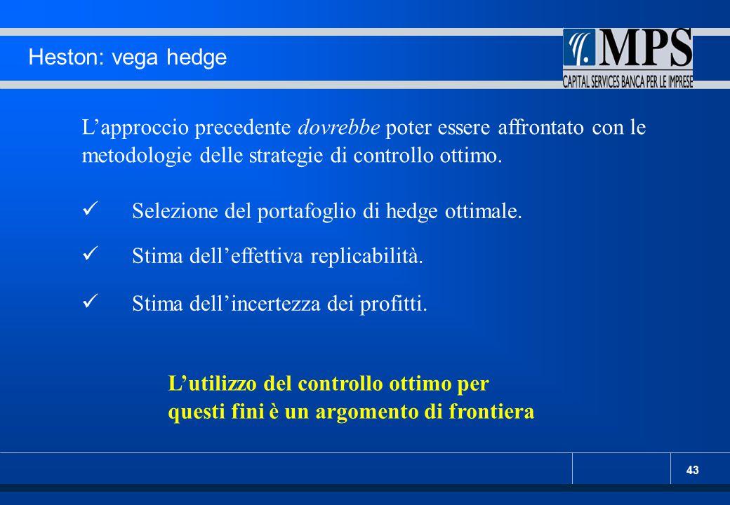 43 Heston: vega hedge L'approccio precedente dovrebbe poter essere affrontato con le metodologie delle strategie di controllo ottimo. Selezione del po