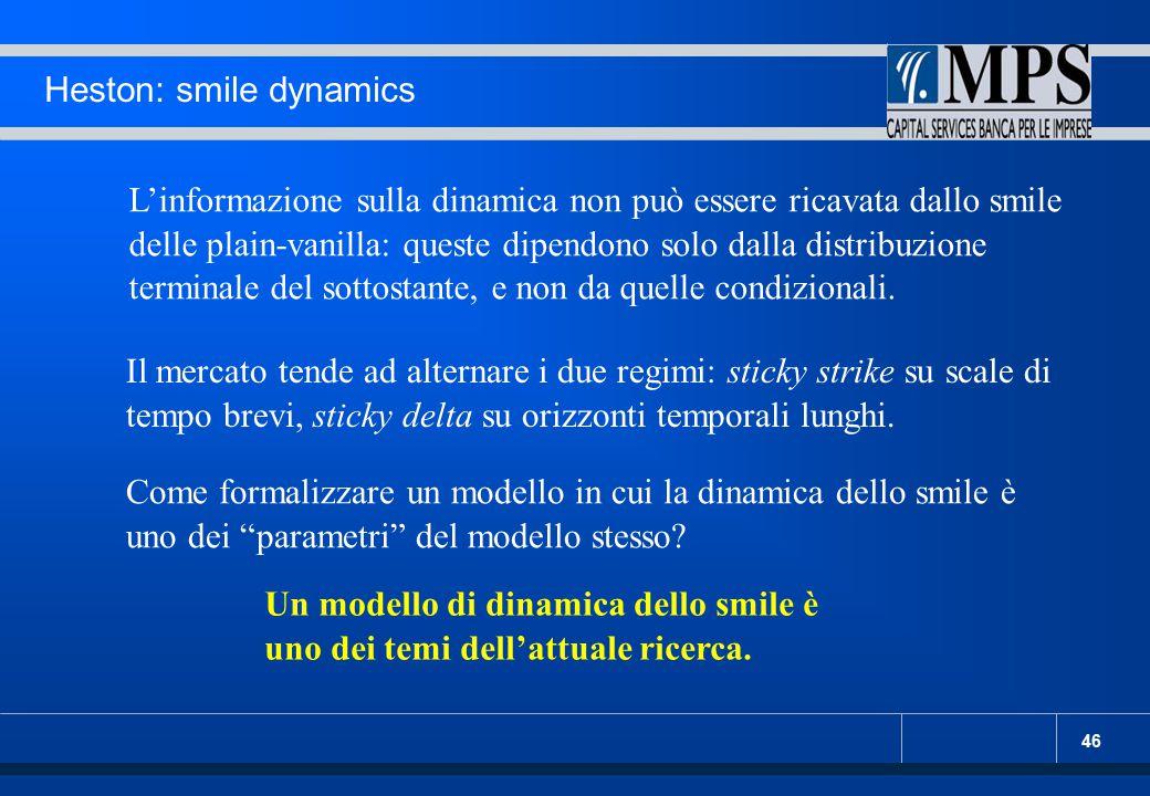 46 Heston: smile dynamics L'informazione sulla dinamica non può essere ricavata dallo smile delle plain-vanilla: queste dipendono solo dalla distribuz