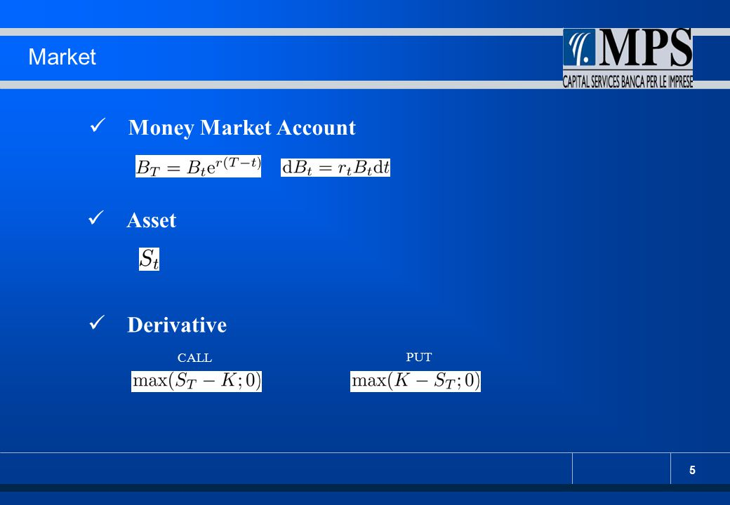 5 Market Money Market Account Asset Derivative CALL PUT