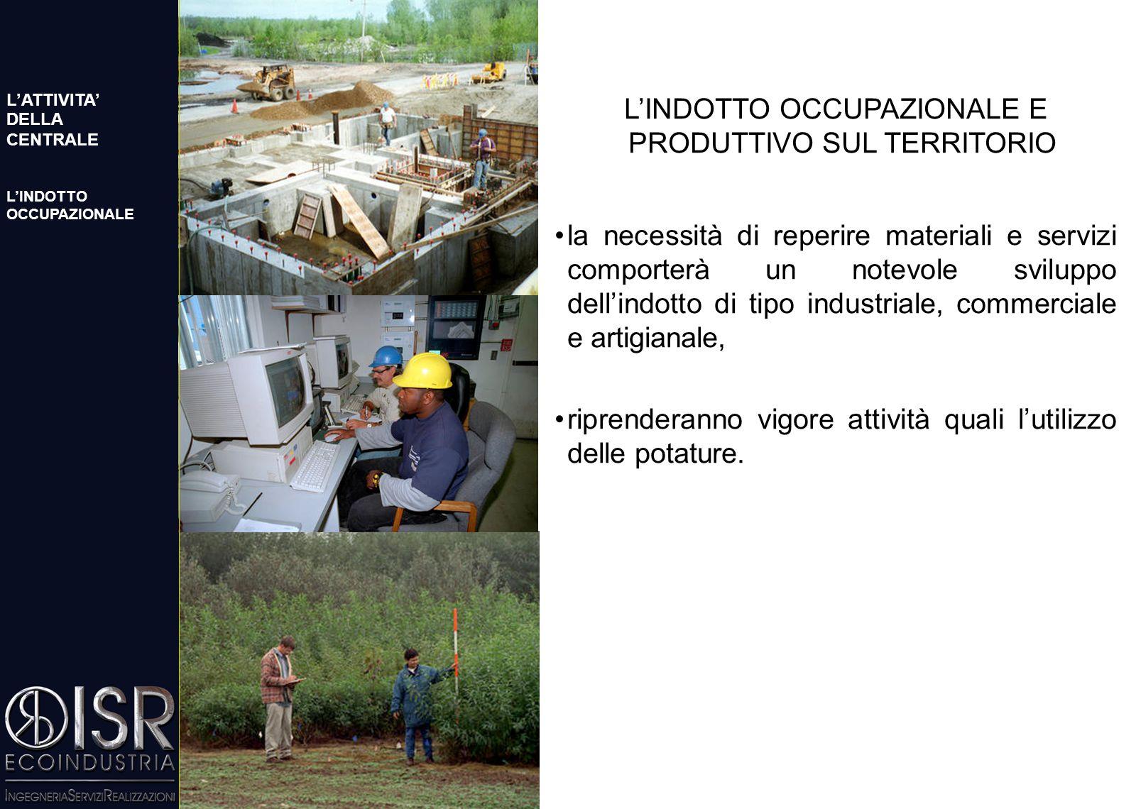 L'INDOTTO OCCUPAZIONALE E PRODUTTIVO SUL TERRITORIO l'organico previsto per la gestione e manutenzione dell'impianto e' costituito da 30 persone, il p
