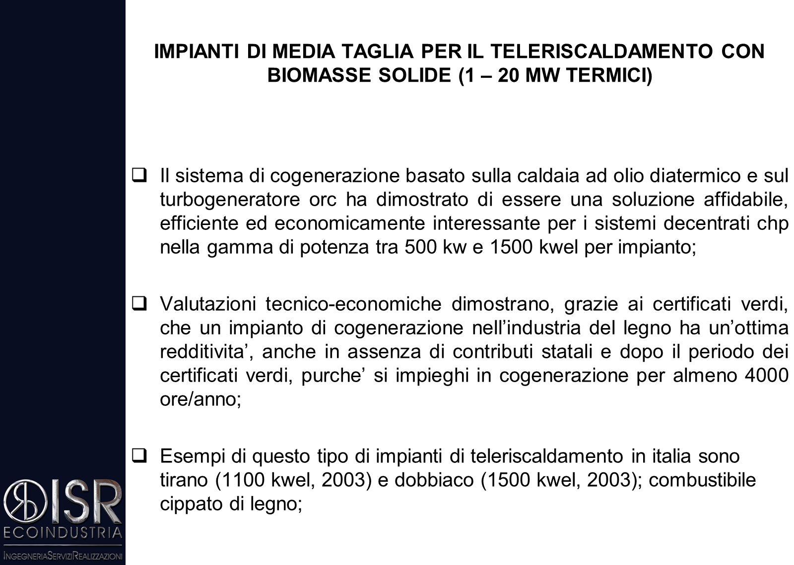 IMPIANTI DI MEDIA TAGLIA PER IL TELERISCALDAMENTO CON BIOMASSE SOLIDE (1 – 20 MW TERMICI)  Impianti diffusi in Italia negli ultimi 15 anni  Ad oggi