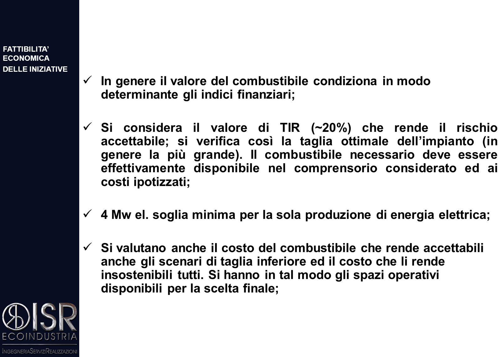 Ricavi: CV (0,11 €/kwh) più vendita dell'energia elettrica (0,07 €/kwh); Analisi degli scenari per indagare l'influenza della taglia dell'impianto sul