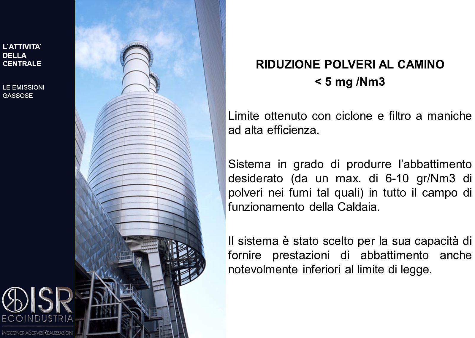 RIDUZIONE POLVERI AL CAMINO < 5 mg /Nm3 Limite ottenuto con ciclone e filtro a maniche ad alta efficienza.