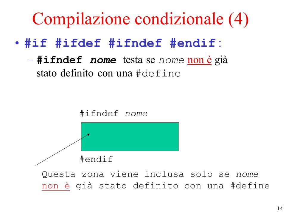 15 Compilazione condizionale (5) #if #ifdef #ifndef #endif : –quando si usano .