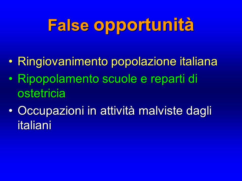 False opportunità Ringiovanimento popolazione italiana Ringiovanimento popolazione italiana Ripopolamento scuole e reparti di ostetricia Ripopolamento