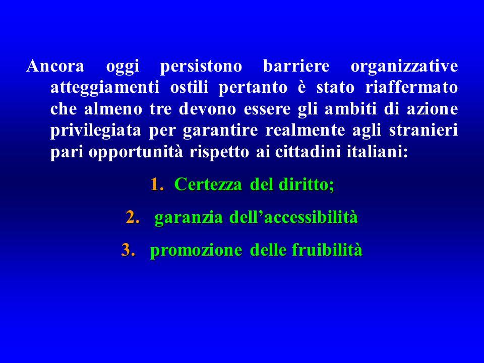 Ancora oggi persistono barriere organizzative atteggiamenti ostili pertanto è stato riaffermato che almeno tre devono essere gli ambiti di azione privilegiata per garantire realmente agli stranieri pari opportunità rispetto ai cittadini italiani: 1.Certezza del diritto; 2.