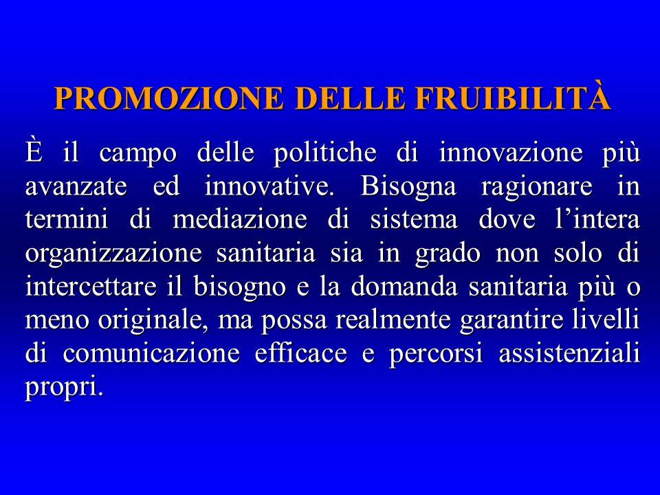 PROMOZIONE DELLE FRUIBILITÀ È il campo delle politiche di innovazione più avanzate ed innovative.