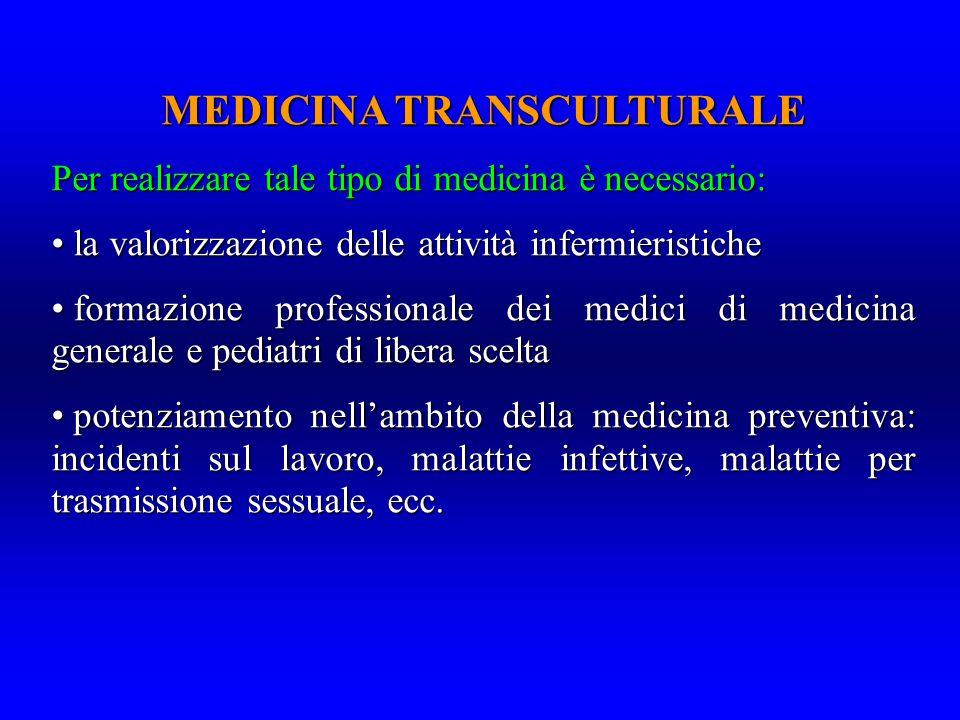 MEDICINA TRANSCULTURALE Per realizzare tale tipo di medicina è necessario: la valorizzazione delle attività infermieristiche la valorizzazione delle a