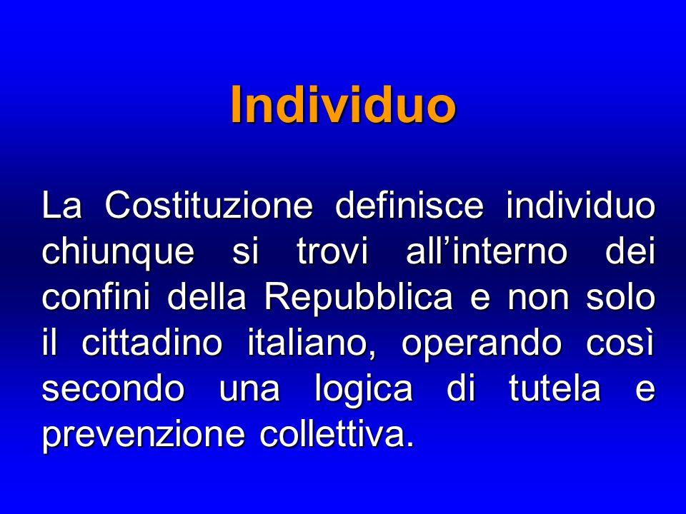 La Costituzione definisce individuo chiunque si trovi all'interno dei confini della Repubblica e non solo il cittadino italiano, operando così secondo una logica di tutela e prevenzione collettiva.