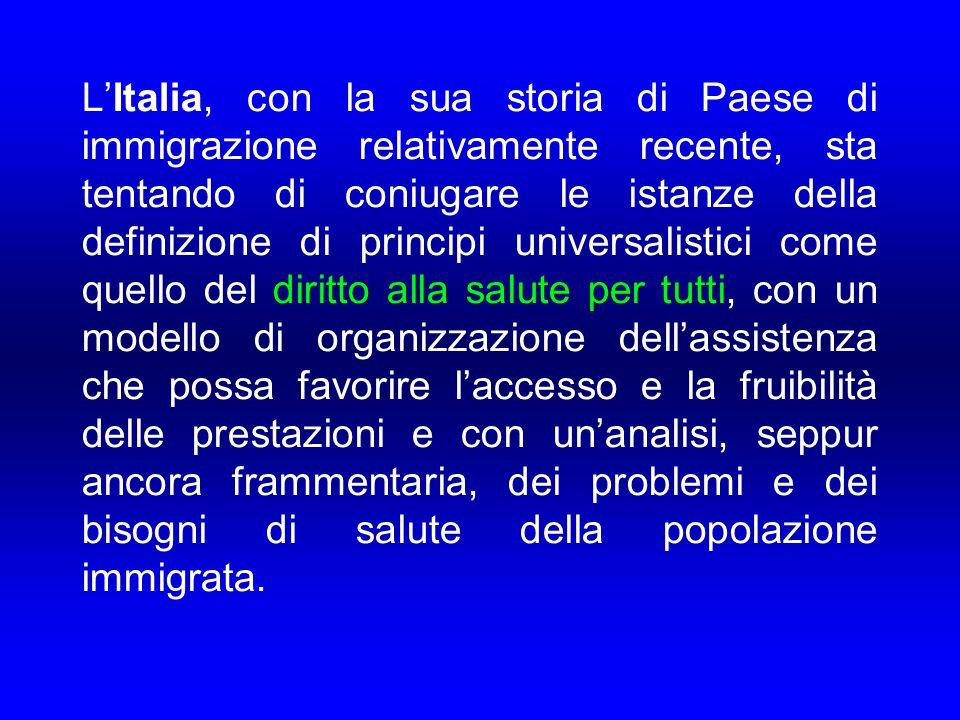 L'Italia, con la sua storia di Paese di immigrazione relativamente recente, sta tentando di coniugare le istanze della definizione di principi univers