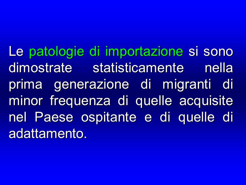 Le patologie di importazione si sono dimostrate statisticamente nella prima generazione di migranti di minor frequenza di quelle acquisite nel Paese ospitante e di quelle di adattamento.