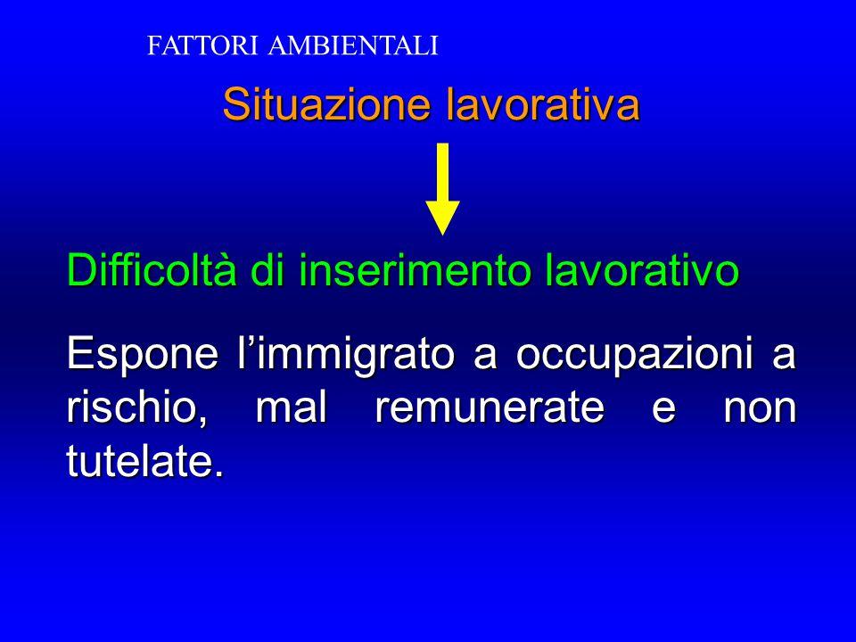 Situazione lavorativa Difficoltà di inserimento lavorativo Espone l'immigrato a occupazioni a rischio, mal remunerate e non tutelate. FATTORI AMBIENTA