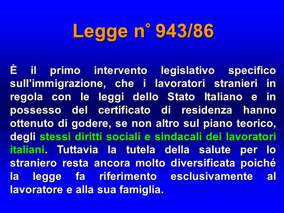 Legge n° 943/86 È il primo intervento legislativo specifico sull'immigrazione, che i lavoratori stranieri in regola con le leggi dello Stato Italiano