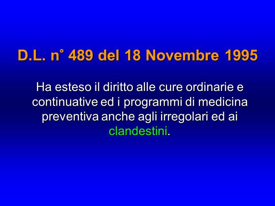 D.L. n° 489 del 18 Novembre 1995 Ha esteso il diritto alle cure ordinarie e continuative ed i programmi di medicina preventiva anche agli irregolari e