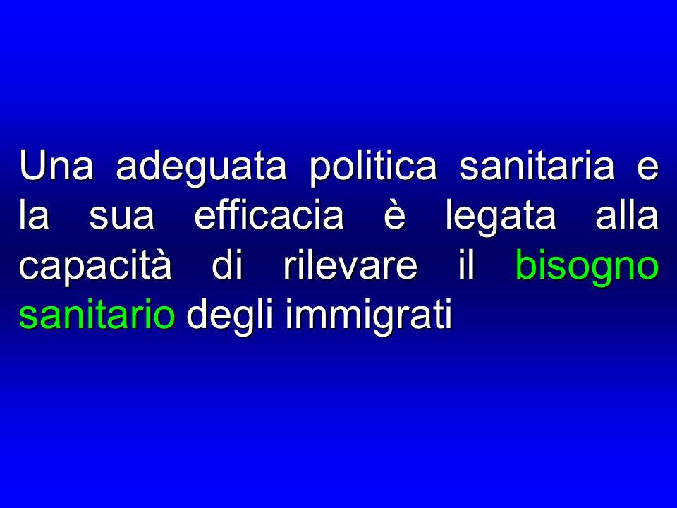 Una adeguata politica sanitaria e la sua efficacia è legata alla capacità di rilevare il bisogno sanitario degli immigrati