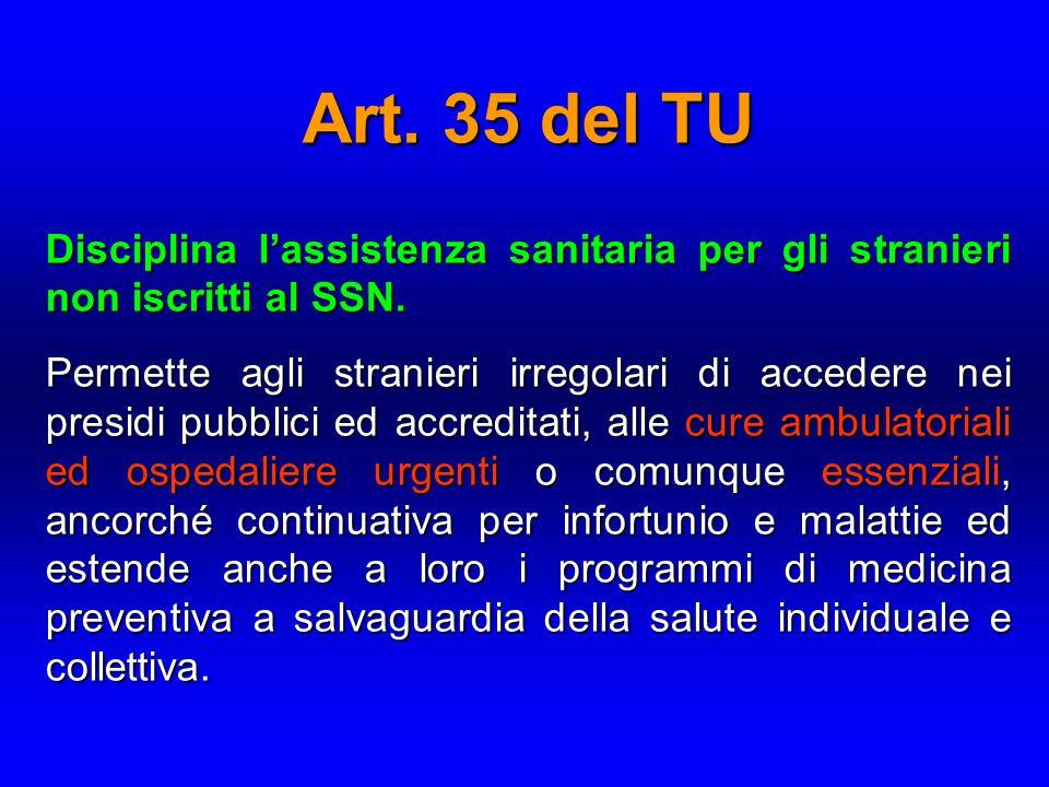 Art. 35 del TU Disciplina l'assistenza sanitaria per gli stranieri non iscritti al SSN. Permette agli stranieri irregolari di accedere nei presidi pub