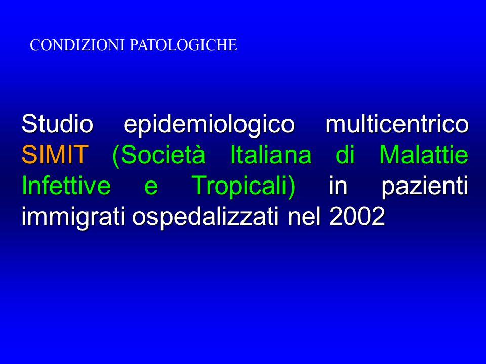 Studio epidemiologico multicentrico SIMIT (Società Italiana di Malattie Infettive e Tropicali) in pazienti immigrati ospedalizzati nel 2002 CONDIZIONI PATOLOGICHE