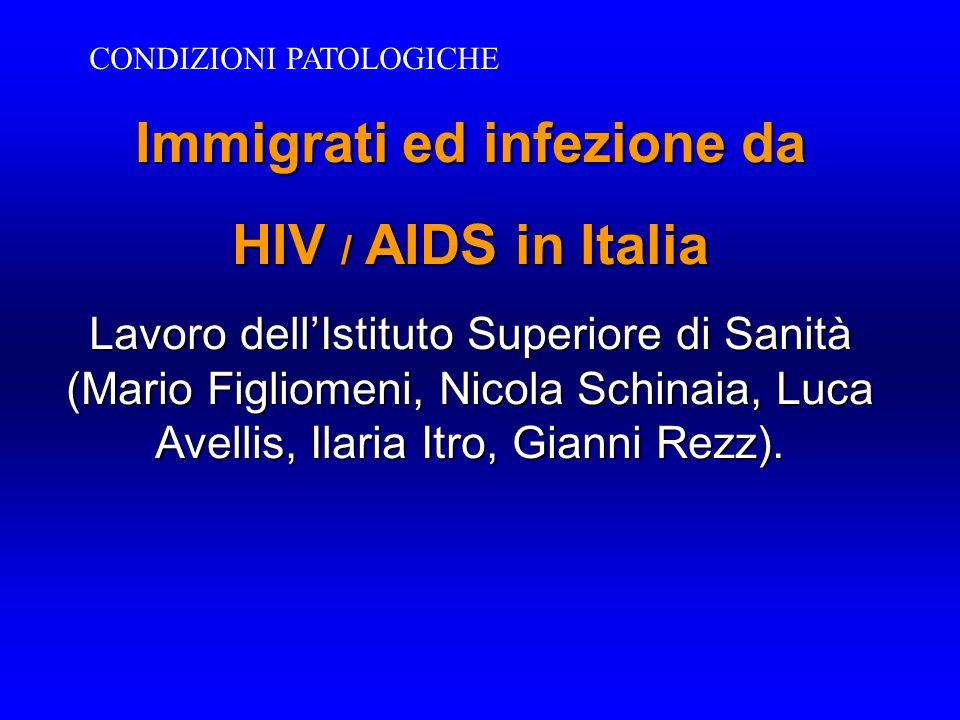 Immigrati ed infezione da HIV / AIDS in Italia Lavoro dell'Istituto Superiore di Sanità (Mario Figliomeni, Nicola Schinaia, Luca Avellis, Ilaria Itro,
