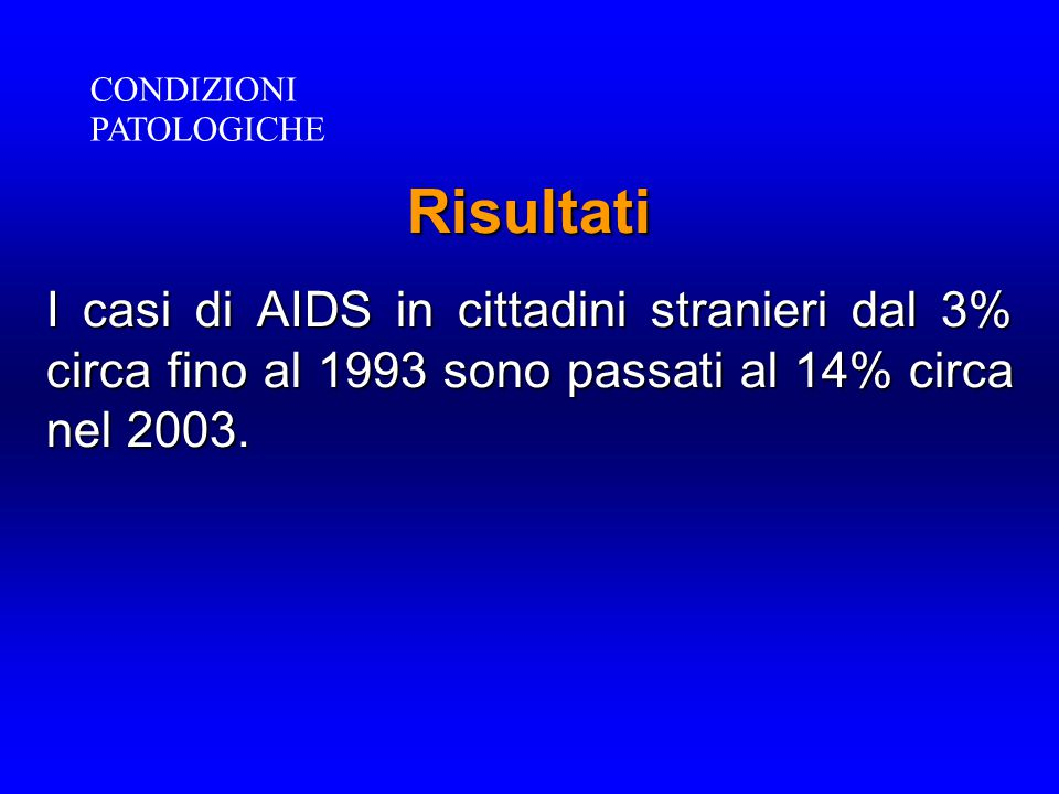 Risultati I casi di AIDS in cittadini stranieri dal 3% circa fino al 1993 sono passati al 14% circa nel 2003. CONDIZIONI PATOLOGICHE