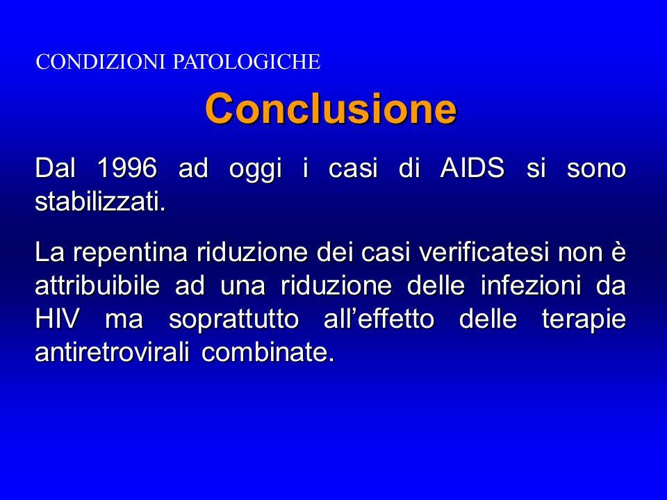 Conclusione Dal 1996 ad oggi i casi di AIDS si sono stabilizzati. La repentina riduzione dei casi verificatesi non è attribuibile ad una riduzione del